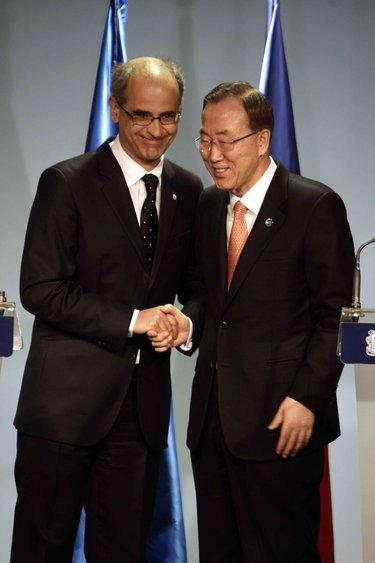 El cap de govern androrrà, Toni Martí, amb el secretari general de les Nacions Unides, Ban Ki-Moon