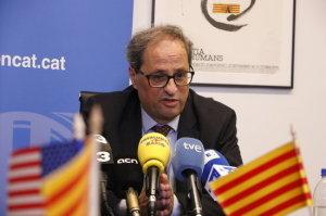 Quim Torra s'explica davant un públic atípic i planta cara a la repressió espanyola